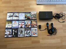 Sony PlayStation 2 Schwarz Spielekonsole inklusive 15 Spielen und SingStar!