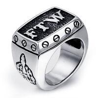 MENDINO Men's 316L Stainless Steel Ring Letter FTW Outlaw Middle Finger Up Biker