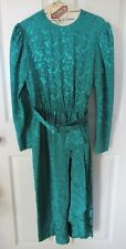 Applause II by Marge Kane Vintage 80's Bold Jewel Green Ruffle Belted Dress 6