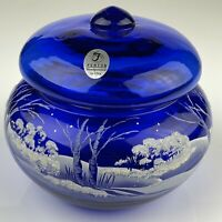 Fenton Glass Cobalt Powder Box Winter Snow Scene Christmas Lidded Candy 7480
