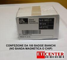 CONFEZIONE DA 100 CARD/BADGE ZEBRA 0.76MM PART 104523-111 NEUTRI