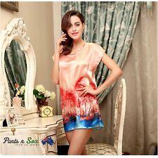 Womens Abstract Silk Feel Sleeveless Nightie Ladies Sleepwear Nightdress 6 8 10
