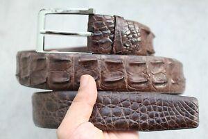 W 1.3 inch -  Brown Genuine Alligator ,Crocodile Leather Skin MEN'S Belt