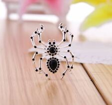 SILVER OR GOLD TONE BROWN OR BLACK DIAMANTE CRYSTAL SPIDER  BROOCH PIN