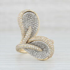 1.40ctw Diamond Cocktail Ring - 14k Yellow & White Gold Size 7 Pave Flower