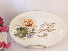Happy Birthday Plate Vintage 1950s  Porcelain July Birth Flower Water Lily Gift