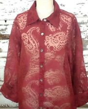 Mirasol Womens Blouse 1X Button Front 3/4 Sleeves Semi Sheer Lace Paisley Red