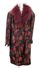 NWOT Kathryn Conover Brocade Coat Womens 24W/18 Plus  Fur Collar Floral Jacket