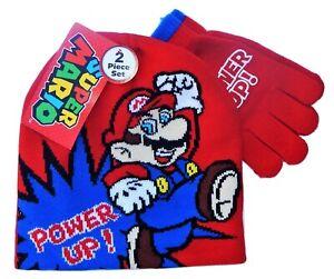 "SUPER MARIO BROS NINTENDO ""POWER UP"" Boys Knit Winter Beanie Hat &Gloves Set $24"