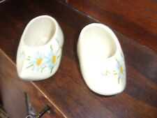 pair of ceramic dutch shoes hand painted blue daisies