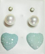 3 Pr Stud Earring -1 xClear Glass, 1xWhite Faux Pearl, 1xBlue Hearts