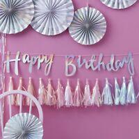 HAPPY BIRTHDAY BUNTING - IRIDESCENT SCRIPT / Iridescent Happy Birthday Backdrop