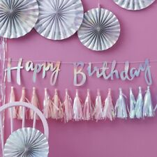 HAPPY BIRTHDAY BUNTING - IRIDESCENT SCRIPT / Iridescent Happy Birthday Backdrop