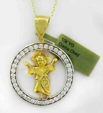 WHITE SAPPHIRES DIVINE CHILD PENDANT 10K SOLID YELLOW GOLD  * Free chain *