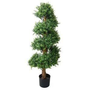 Artificial 4 ft. Boxwood Spiral Tree in a Pot Indoor Outdoor Home Office Decor