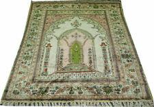 An Interesting 4' x 6' 100% Silk Turkish Prayer Kayseri Rug