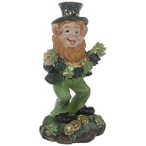 Lucky The Leprechaun Holding Shamrock Garland Figurine St Patrick's Day