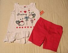 """GIRLS 12 months 2-piece outfit """"Lovebug / Flowers"""" top & shorts Fisher-Price NWT"""