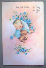 Unused new Baby with bear  vintage greeting card  *T