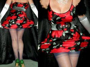 SHINY SATIN Nightie Silky SLIP DRESS Sissy Chemise Floral Nightgown Petticoat 40