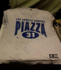 Piazza #31 LA Dodgers Sleeveless T Shirt Size X-Large Gray/ Blue Starter Brand