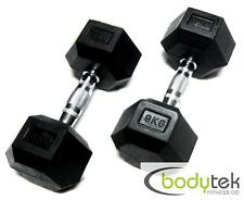 2 x 9Kg Hex Dumbbells Body Building Exercise Gym Bar Training Weights Fitness