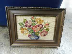 """Vtg Shabby Chic Crewel Embroidered Floral Wool Wall Art Framed Picture 6"""" x 8"""""""