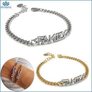 Bracciale da donna con scritta family famiglia acciaio inox braccialetto zirconi