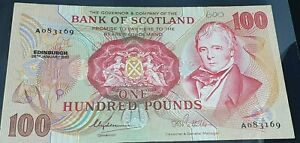 RARE BANK OF SCOTLAND 26TH JANUARY1985 £100 BANKNOTE CLYDESMUIR/PATTULLO FINE