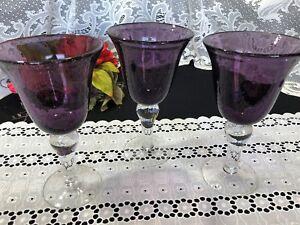 "Set of 3 Artland Purple Plum ""Iris"" Bubble Glass Goblets 8"""