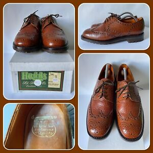 Hoggs of Fife Gibson Tan Leather Brogues Mens Shoes Commando Sole Size 9