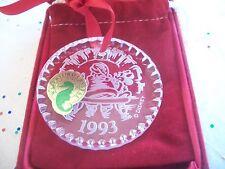 WATERFORD 1993 DISNEY CRYSTAL MICKEY & MINNIE WITH SANTA CHRISTMAS ORNAMENT MIB