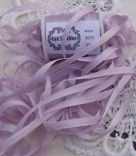 100%SILK EMBROIDERY RIBBON COLOR # 570~ PLATINUM /WISTERIA  ~4mm 25 YD SPOOL