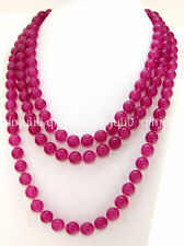 """Long 50"""" Necklace Jade 8mm Round Gemstone Beads Knotted Each Beads Single"""