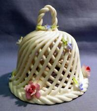 CROWN STAFFS ENGLAND  MINI WHITE  BELL DECORATED W/FLOWERS VINTAGE