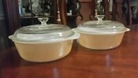 FIRE KING Lusterware Casserole Dishes with Lids 1.5 Qt Lot of 2