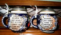 Vintage pair (two) Ceramic German Marzi & Remy Beer Mugs Steins Excellent