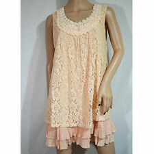 VTG MYSTREE Floral Roses Cream Lace Pleated Tiered Mini Dress * Size L EUC