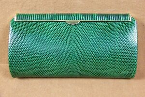 Vintage 1960's Authentic Gucci Rare Green Lizard Box Clutch Evening Bag