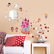 Wall stickers home Noël Ange Château Tinker Bell miroir autocollant 110 cm x 60 cm