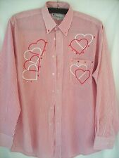 VERY PRETTY MILI DESIGNSFRONT BUTTON PINK STRIPES W/HEARTS FRONT & BACK SIZE MDM