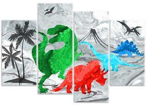 Dinosaurs T-Rex Stegosaurus Triceratops - 4 Panel Childrens Canvas Art Print