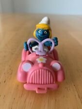 Promo Smurfette Pink Car Super Smurf Applause Vintage Figure Smurfs Toy rare