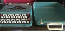 VINTAGE AQUA Turquoise SMITH-CORONA MANUAL TYPEWRITER-MADE IN ENGLAND 1967