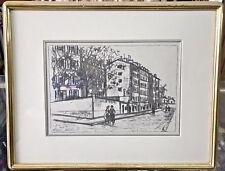 MAURICE UTRILLO VALADON ORIGINAL LITHOGRAPH LA RUE D'ORCHAMPT MONTMARTRE PARIS
