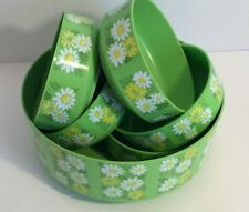 New listing Vintage Alladinware Salad Bowl Set - Daisies - Melamine - Bright Green