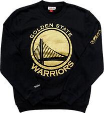 Golden State Warriors Mitchell & Ness Men's Black Gold Logo Fleece Crew Sweater