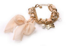 Gold Colour Chain Bracelet Blush Pink Ribbon, Metal Bow&Two Small Beads (T570)