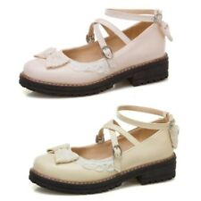 Lolita Sweet Girls Mary Jane Shoes Cosplay Bowknot Buckle Strap Pumps 34/43 B