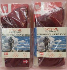 2 PAIRS OF Danish Endurance MERINO WOOL hiking SOCKS size 3-5 red NEW